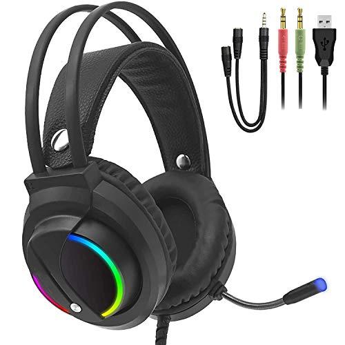 LOLO Audifonos Gamer Headset para Xbox One PS4 Nintendo Switch, Diadema Gaming Audifonos con Microfono de Reducción de Ruido, RGB...
