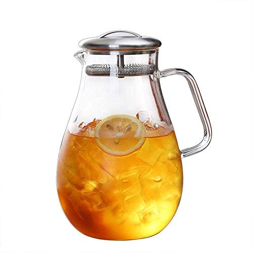 Teapot Teapot 1.8 L/Liter Carafe BPA-Free Lead-Free Borosilicate Glass Pitcher Kettle with Crystal Handle Pitcher Suitable for Cold Fruit Juice Ice Drinks Etc Song