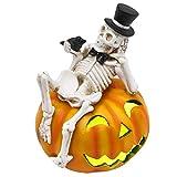 Valery Madelyn Adornos Decoraciones de Halloween, 17.8cm LED Linterna Figurilla Estatua de Cráneo y Calabaza, Regalo de Juguete de Halloween de Miedo, Fiesta de Feliz Halloween Trick or Treat