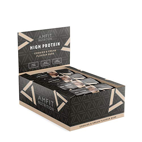 Marque Amazon - Amfit Nutrition Barre protéinée à faible teneur en sucre (19,6gr protéine- 1,4gr sucre) - Cookies & Cream - Pack de 12 (12x60g)