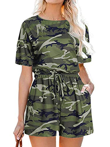 Auxo Women Short Romper Short Sleeve One One Piece Jumper 4th of July Jumpsuit Playsuit Army Green M