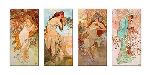 LuxHomeDecor Cuadros Alfons Mucha Las cuatro estaciones Four Seasons 4 piezas 40 x 20 cm Impresión sobre lienzo con marco de madera Arte decoración