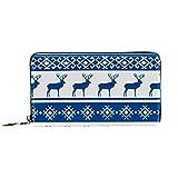 Monedero de piel para mujer, cartera larga, con bloqueo RFID para monedas, tarjetero, diseño étnico nórdico navideño