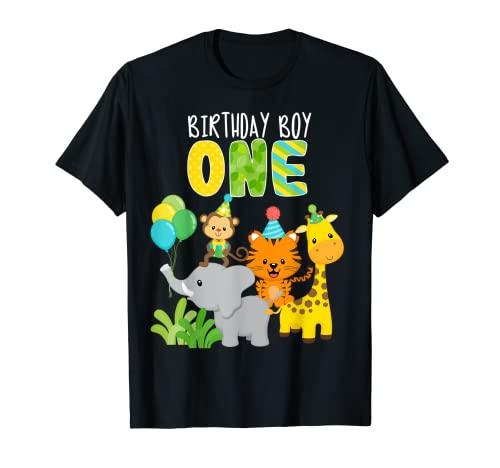 Zoo Safari animales de la selva 1er cumpleaños 1 año de edad Camiseta