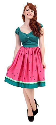 Collectif Damen Rock Jasmine Watermelon Vintage Tellerrock Pink 2XL