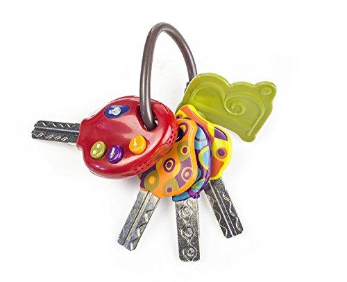 B. toys – LucKeys porte-clés avec 4 clés texturées pour bébés et enfants – Lampe de poche et sons de voiture – 6 mois et plus