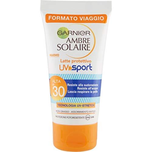 Garnier Ambre Solaire Crema Protezione Solare UV Sport, Ottima per lo Sport, Resiste al Sudore, non Cola sugli Occhi, IP30, 50 ml, Confezione da 1