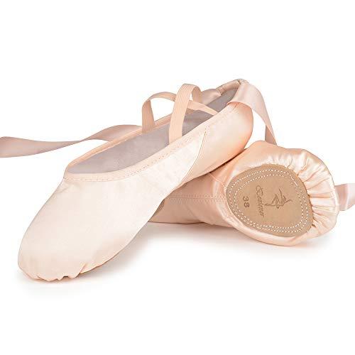 Ballettschuhe Rosa Ballettschläppchen Tanzschuhe aus Satin mit Band Geteilte Ledersohle für Kinder und Erwachsene 37 EU