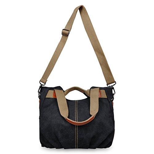 Losmile Women's Vintage Canvas Shopper Totes Top Handle Handbag - Blue