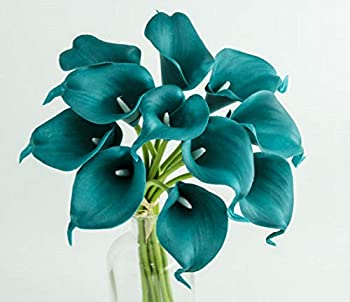 Angel Isabella LLC 20pc Set of Keepsake Artificial Real Touch Calla Lily with Small Bloom Perfect for Making Bouquet Boutonniere,Corsage  Gem Teal