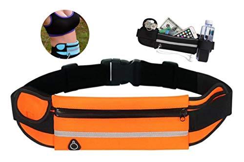 Lauftasche Sport Bauch Laufen Fitness Walking Wasserdicht Handytasche Gürtel Hüfttasche Bauchtasche für Damen und Herren, Laufgürtel Leichtgewicht Kopfhörerdurchgang Flaschen Halterung - (Orange)