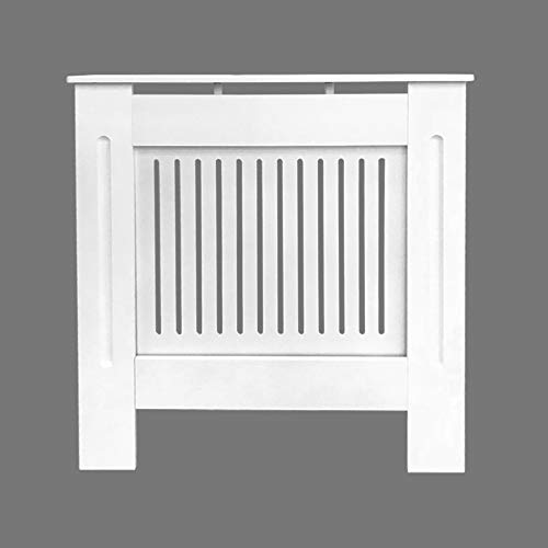 Greenbay Painted Radiator Cover Cabinet with Vertical Modern Style Slats in White MDF (Extra-Small)