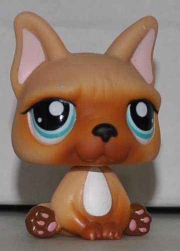 French bulldog #1847 (Tan, White Chest) - Littlest Pet Shop (Retired) Collector Toy - LPS Collectible Replacement Single Figure - Loose (OOP Out of Package & Print)