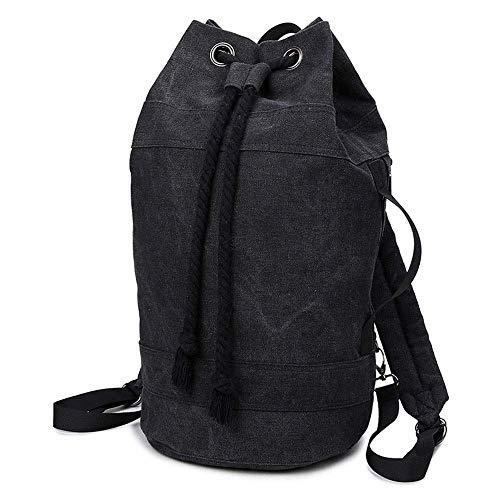 Outdoor Sport Travel Backpack Black Canvas Fitness Bag Retro Emmer schoudertas Handig mannen en vrouwen's Fashion Dikke Pull Rope slotpoort Veelzijdig Mooie en praktische sporttas.