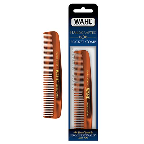 Wahl Model 3324 Beard, Moustache & Hair Pocket Comb for Men's Grooming - Handcrafted & Hand Cut with Cellulose Acetate - Smooth, Rounded Tapered Teeth