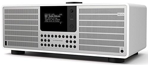 Revo SuperSystem Internet-/DAB+ Radio (Stereo Sound, Internet/DAB+/DAB/UKW,Spotify,WLAN,LAN,Aux In,Line-Out,Kopfhörer Ausgang,inkl. Netzteil) mattweiß-silber