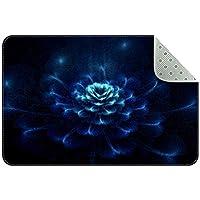 エリアラグ軽量 抽象的な青い花 フロアマットソフトカーペットチホームリビングダイニングルームベッドルーム