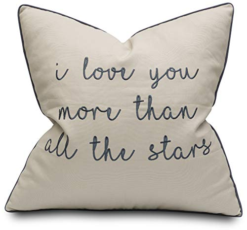YugTex I Love You More Than All The Stars Embroidered Decorative Accent Pillow Cover - Couple Bedroom Décor - 18x18, Natural