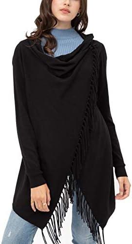 Women s Boho Open Front Sweater Cardigans Fringed Draped Poncho Wrap Cardigan LT9018WHX Black product image