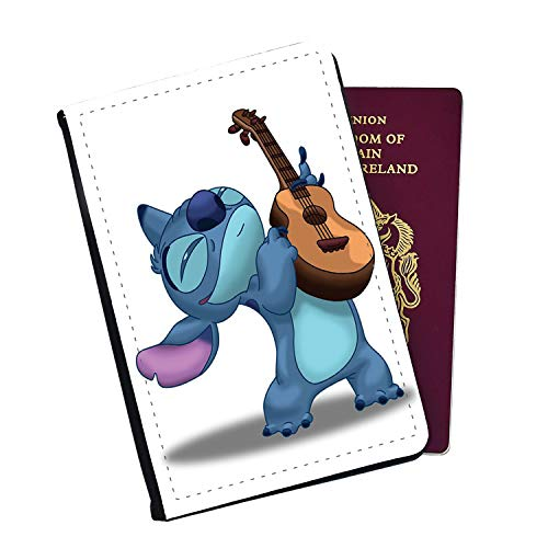 Stitch Playing Ukulele Disney Passport Cover Wallet Style with Card Insert Pockets