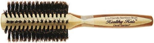 Olivia Garden Healthy Hair Brosse Thermale Ronde en Bambou avec Poils 100% Sanglier, Diamètre 30mm - Corps de Brosse Ecologique en Bambou avec Poils 100 % Pur Sanglier pour des Cheveux Brillants