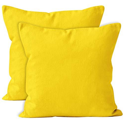 Encasa Homes Fundas de Cojines 2 Piezas (50 x 50 cm) - Amarillo - Lona de algodón teñida Forma sólida, Decorativa, Grande y Colorida, Lavable Funda Almohada para Sala de Estar, Dormitorio