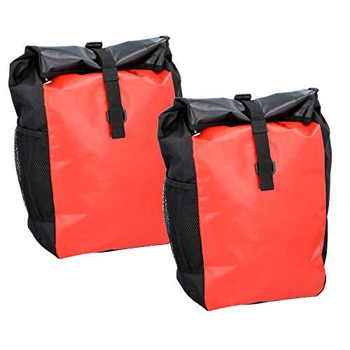 2X Dunlop Fahrrad Tasche Gepäckträgertasche Tragetasche Fahrradtasche Besfestigung am Gepäckträger (Rot)