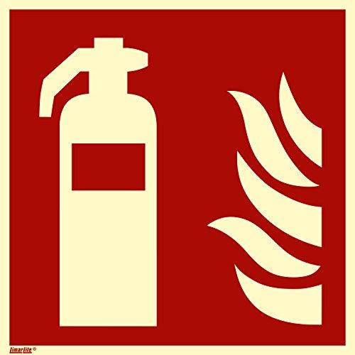 Feuerlöscher, Hart-PVC langnachleuchtend, selbstklebend, 150 x 150 mm gemäß ASR A1.3 / ISO 7010 F001, Brandschutzzeichen Schild, 15 x 15 cm