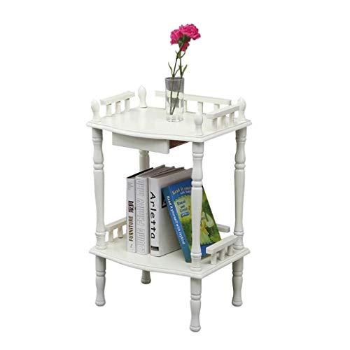 BHJqsy 2-stöckiger Beistelltisch, weißer Nachttisch, Sofa-Beistelltisch, mit Klappenzaun, multifunktionalen Möbeln,...