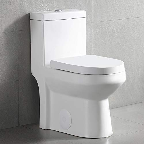 Luxury Modern One-Piece Toilet, Compact Bathroom Tiny Mini Commode Water Closet Dual Flush Concealed (White)