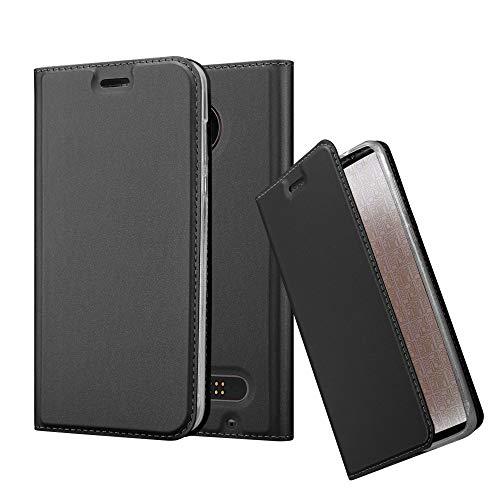 Cadorabo Hülle für Motorola Moto Z2 Play - Hülle in SCHWARZ – Handyhülle mit Standfunktion & Kartenfach im Metallic Erscheinungsbild - Hülle Cover Schutzhülle Etui Tasche Book Klapp Style