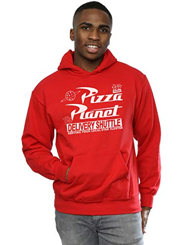 Disney Men's Toy Story Pizza Planet Logo Hoodie Large Red