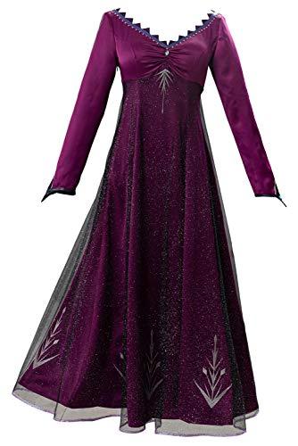 Bilicos Schnee und EIS 2 ELSA Prinzessin Kleid Outfit Lila Kleid Cosplay Kostüm Erwachsene Damen XS