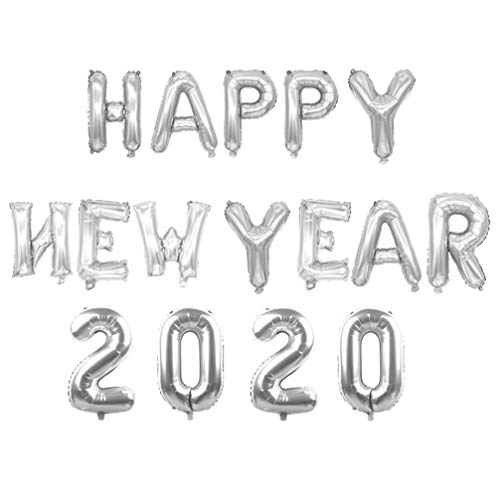Amosfun 2020 Happy New Year Globos de papel de aluminio 2020 Año Nuevo Decoraciones Fiesta Suministros Props 30 pulgadas (oro rosa), Plateado, medium