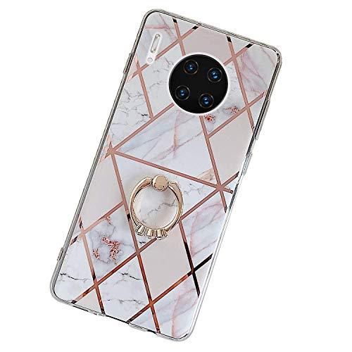 Herbests Kompatibel mit Huawei Mate 30 Pro Hülle Handyhülle Glänzend Glitzer Bling Marmor Muster Silikon Schutzhülle Soft Stoßfest Handytasche mit Diamant Ring Halter Ständer,Rosa Weiß