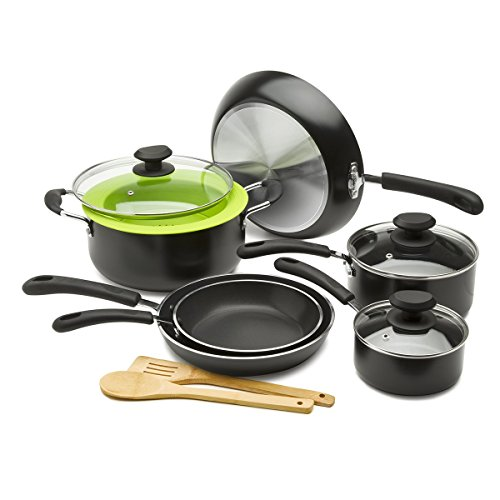 Ecolution Nonstick Cookware Set, 12 Piece - Heavy Weight, Includes Vented Lids, Steamer, Bamboo...
