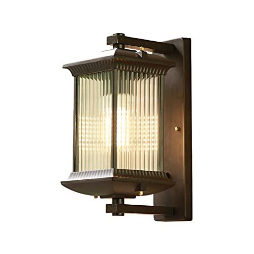 Lámpara De Pared Exterior Para Porche De Aluminio Con Soporte, Lámpara De Pared Exterior De Vidrio Rústico Para Montaje En Pared, Aplique De Pared E27 Luces De Paisaje Para Entrada De Garaje H: 35 Cm