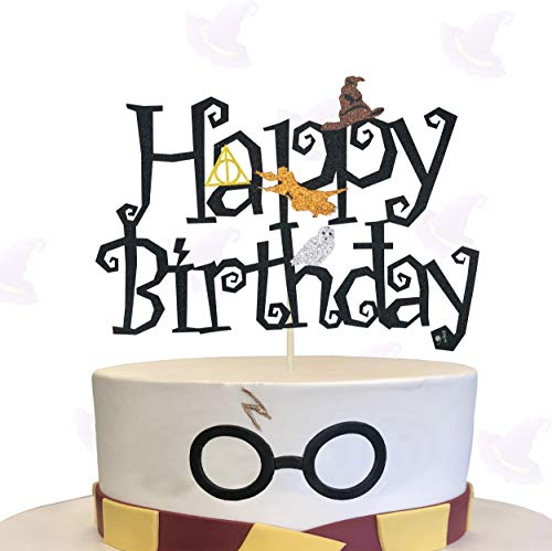 KAPOKKU Double Sided Glitter Black Wizard Happy Birthday Cake Topper for Ha_rry Pot_ter Wizard Theme Party Supplies (Ha_rry Pot_ter cake topper)