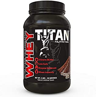Titan WHEY Premium Whey Protein Powder for Improved Muscle Recovery with 23 Grams of Clean Whey Protein |BCAA and Digestive Enzymes| (Devils Food Cake, 2 lb)