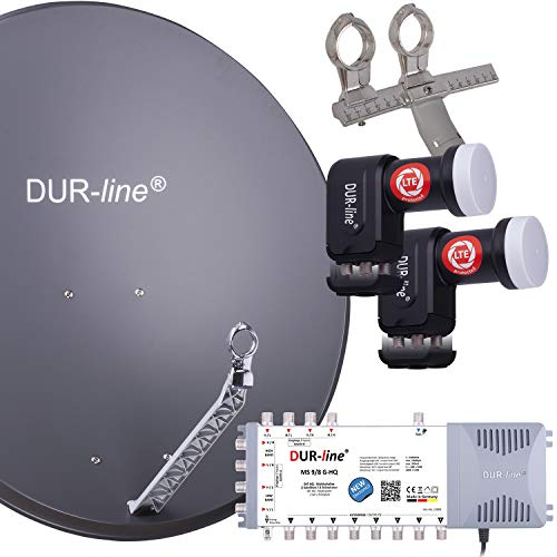 DUR-line 8 TN/2 Satelliten Set - Qualitäts-Alu-Satelliten-Komplettanlage - Select 85cm/90cm Spiegel/Schüssel Anthrazit + Multischalter + 2xLNB - für 8 Receiver/TV [Neuste Technik, DVB-S2, 4K, 3D]