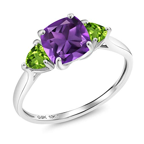 Gem Stone King 10K White Gold Purple Amethyst and Green Peridot 3-Stone Women Meghan Engagement Ring (1.92 Ct Cushion-Cut, Available in size 5, 6, 7, 8, 9)