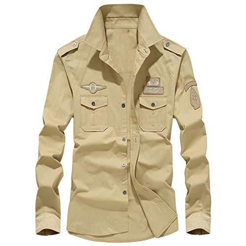 MRULIC Herren Herbst Militär Slim Button Langarm Stehkragen Shirt Top(Khaki,EU-58/CN-6XL)