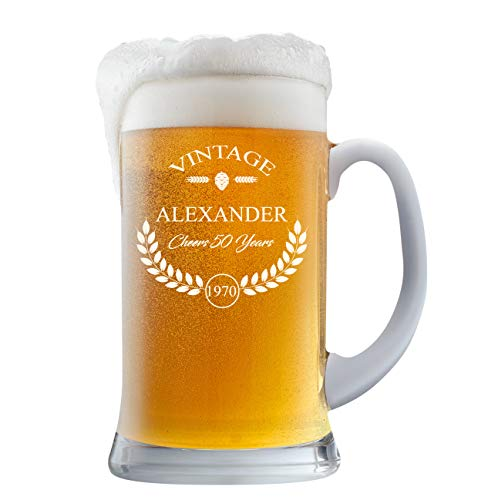 PersonalizedBeer Glass - Custom Engraved Beer Mug, Pint Glass, Pilsner Glass, Pitcher.   Add your own Engraved Text - Vintage Design (Beer Mug 16oz)
