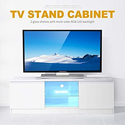 """Mecor High Gloss TV Stand with LED Lights, 58"""" TV Shelves Console 3 Layers, 2 Doors, Open Shelf Storage Cabinet,Black"""