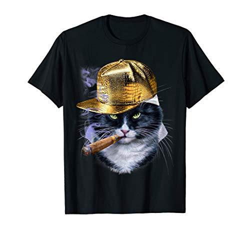 Evil bicolor Katze in Hip Hop Rapper Cap, T-Shirt