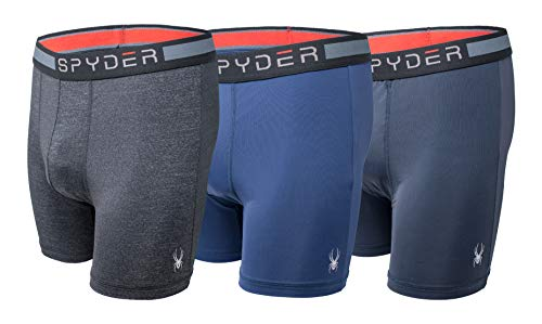 Spyder Men's Performance Boxer Briefs Sports Underwear 3 Pack (Medium, Navy/Grey)