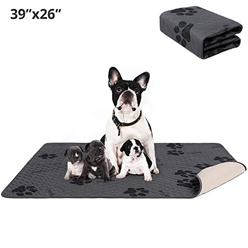 amorus Washable Dog Pee Pads, Waterproof Dog Bed Mat with Super Absorption 4-Layer, Anti-Slip Puppy Pee Pad for Training, Travel, Whelping (39x26inch) Bed Mats