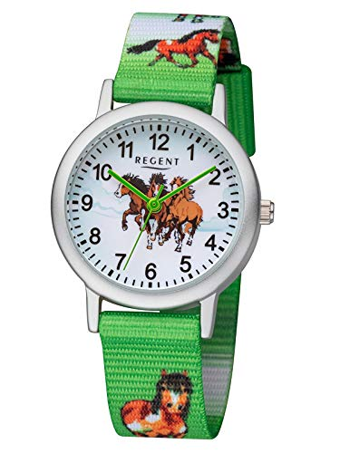 Regent Junioruhr Kinderuhr mit Pferde Motiv Textilband Arabische Zahlen Aluminium Quarz F-1363
