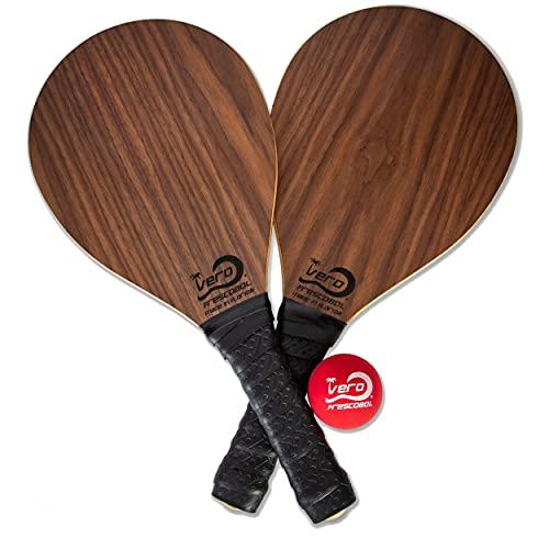 Frescobol Paddle, American Walnut Wood Beach Paddle Ball Racket, Black Padded Grip