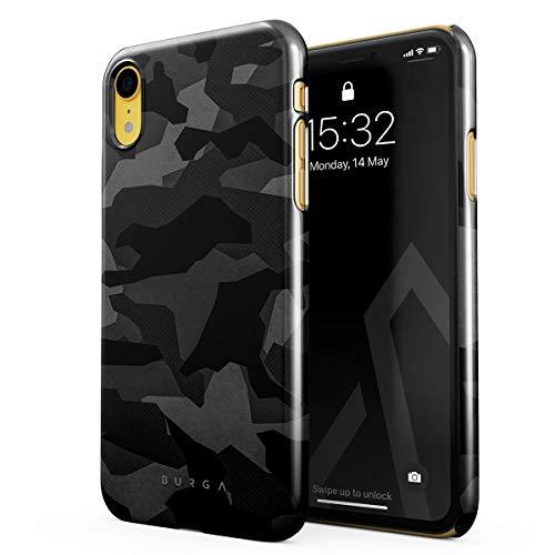 BURGA Hülle Kompatibel mit iPhone Xr Handy Huelle Nacht Grau Städtisch Schwarz Camo Camouflage Tarnung Muster Dünn, Robuste Rückschale aus Kunststoff Handyhülle Schutz Case Cover